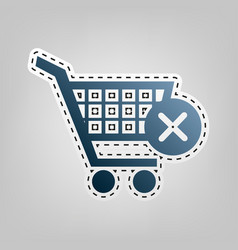 Shopping cart with delete sign blue icon vector