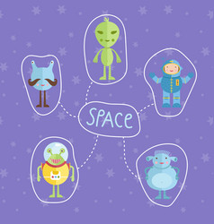 space cartoon style concept vector image