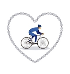 Sports bike in chain heart isolated icon design vector