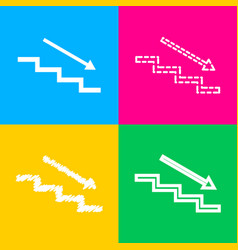 Stair down with arrow four styles of icon on four vector
