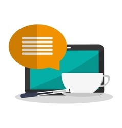 Tablet bubble cup pen and blog design vector