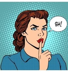 Top secret silence businesswoman concept vector