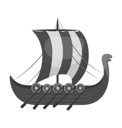 Viking s ship icon in monochrome style isolated on vector