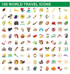 100 world travel icons set cartoon style vector image