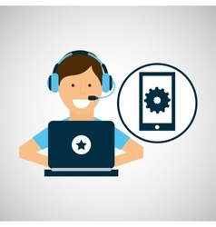 Character headset laptop smart mobile tool vector