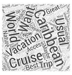 Caribbean cruise word cloud concept vector