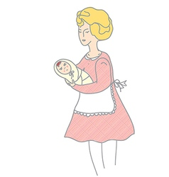 Mother and baby retro style vector