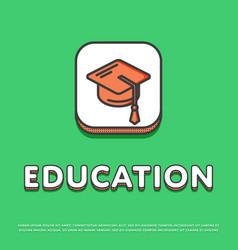 education icon with graduation cap vector image