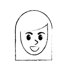 sketchy face woman comic design vector image
