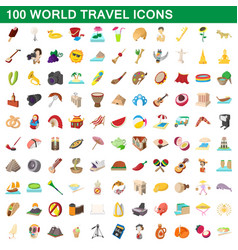 100 world travel icons set cartoon style vector