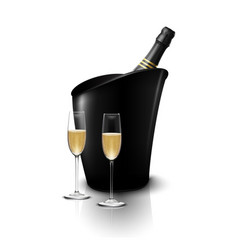 Two wineglass with wine bottles of champagne vector