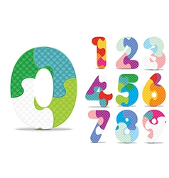 Numbers written with alphabet puzzle vector