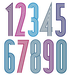 Geometric colorful numbers with straight lines vector