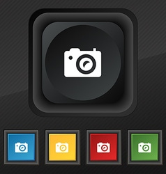 Digital photo camera icon symbol set of five vector