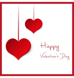 happy valentine with hanging red hearts from paper vector image