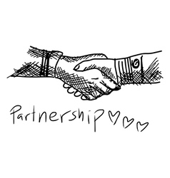 Partneship sketch handshake with word partnership vector