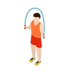 Man jumping with skipping rope icon isometric 3d vector