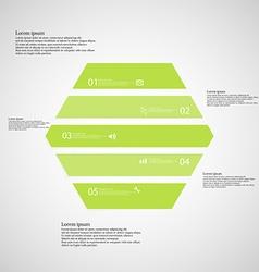 Hexagonal infographic template consists of five vector