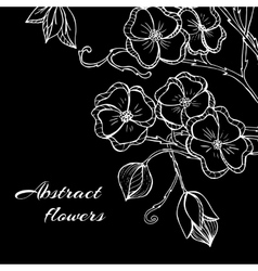 Abstract background with flowers in black and vector image vector image