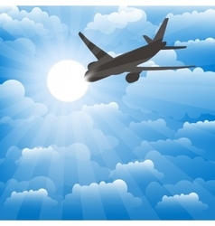 Airplane on a background of clouds vector image vector image