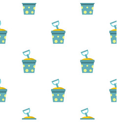 Blue bucket of sand and shovel pattern seamless vector