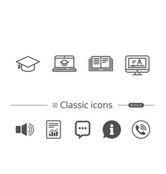 book graduation cap and video tutorial icons vector image vector image