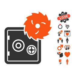 Break banking safe icon with lovely bonus vector