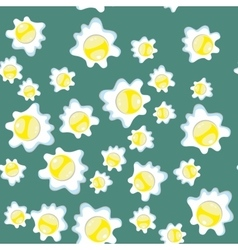 Broken eggs seamless pattern Breakfast background vector image