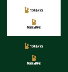 Broker logo letter b with up and down arrows vector
