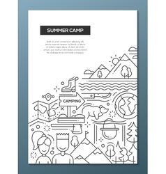 Camping hiking line nesign composition vector image