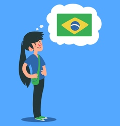 Cartoon girl thinking about brazil vector