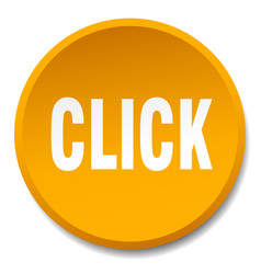 Click orange round flat isolated push button vector