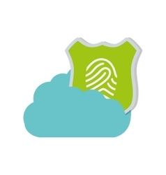 Cloud technology shield protection finger print vector