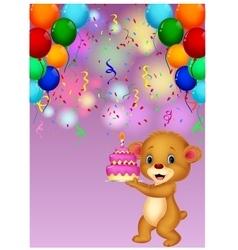 Cute baby bear holding birthday cake vector