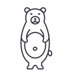 cute bear line icon sign on vector image