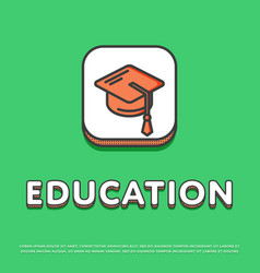 Education icon with graduation cap vector