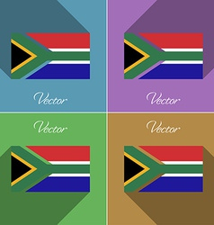 Flags south afreica set of colors flat design and vector
