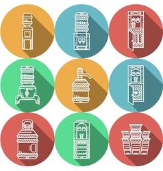Flat round icons for water coolers vector