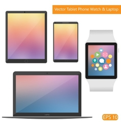 Flat technic laptop phone tablet vector