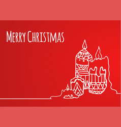 Greeting card with hand-drawn christmas candles vector