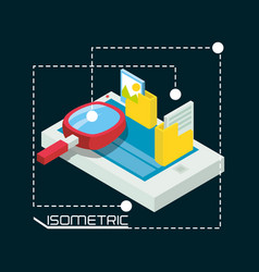 Isometric smartphone with apps options vector