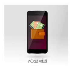 Money wallet with credit card symbols on mobile vector