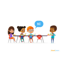 Multiracial kids sitting at table in school vector