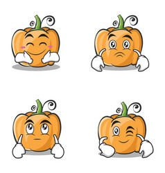 Set collection pumpkin character cartoon style vector