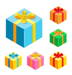 set of different gifts boxes vector image vector image
