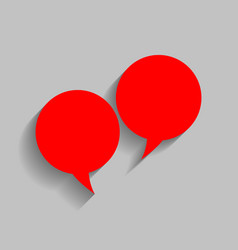 Speech bubble sign red icon with soft vector