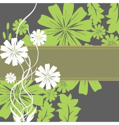 Spring flowers and leaves frame vector