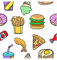 stock of food various style doodles vector image vector image