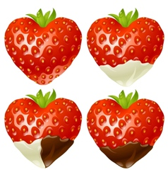 strawberry in the shape of heart vector image