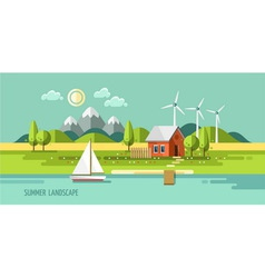 Summer landscape house on the nature vector